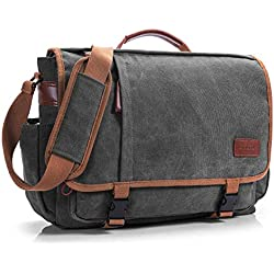 CoolBELL 17,3 Pulgadas Bolsa de Ordenador Portátil Hombres Lona Bolso de Bandolera La Bolsa de Mensajero Messenger Bag Bolso de Hombro para Laptop Macbook (Gris Oscuro)