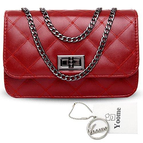 Borse a tracolla Yoome Rhombic Pattern Alley Style Borse Donna Borse Purse Crossbody Bags per Ragazze - Oro Rosso