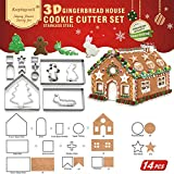 14 PCS - 3D Gingerbread House Cookie Cutter Set (17x13x17 cm)| Bonus Big Tree, Rabbit, Caterpillar, Little Boy| Forest Theme Cutouts Cutters Kit For Kids| Stainless Steel LFGB & FDA Approved, Gift Box