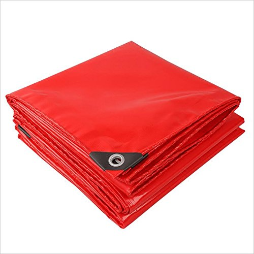 Price comparison product image QIANGDA Awnings Red Tarpaulin Waterproof Heavy Duty Poncho Moisture-proof Warehouse Cargo Dust-proof Sun Protection High Temperature Resistance Anti-oxidation,  Thickness 0.45mm,  -520 G / M²,  11 Size Options , Lightweight Ground Sheet ( Size : 2 x 3m )