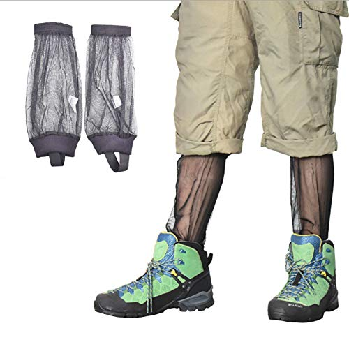 Holz-detail-kleid-schwarz (Yundxi Mückenbeingamaschen Netz schnell trocknende Socken für Camping Wandern Jagd Garten Angeln, schwarz)