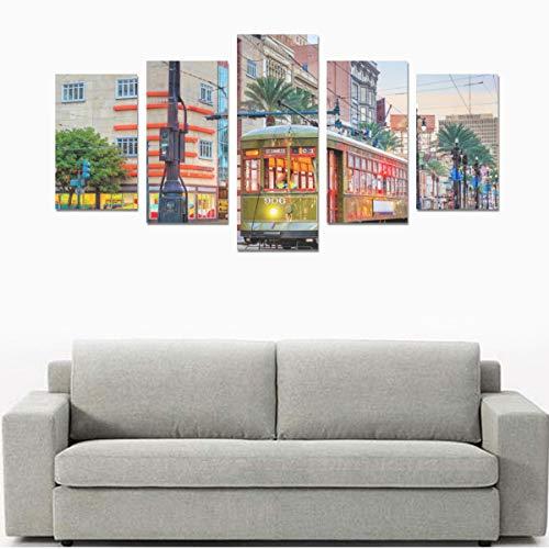 Altmodische rote Straßenbahn auf Straße (kein Rahmen) Leinwanddruck Sets Wandkunst Bild 5 Stück Gemälde Poster Drucke Foto Bild auf Leinwand Fertig zum Aufhängen für Wohnzimmer Schlafzimmer Home Offi