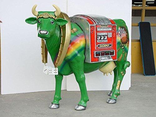 Bonheur Vache Casino avec languettes de fixation au sol (Métal) 164 cm picorent Grand pour extérieur en fibre de verre haute qualité plastique (GFK)