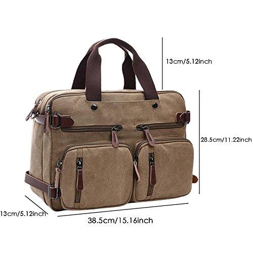 cbffde0868d5b ... Kobwa Vintage 3 in 1 Laptop Notebook Tasche Canvas Laptoptaschen  Rucksack Schultertasche für Herren und Damen ...