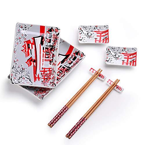Panbado Vajilla de Sushi de Cerámica 8 Piezas para 2 Personas Juegos de Sushi de Porcelana Estilo Japonés, 2 Platos, 2 Platillos de Salsa, 2 Soportes de Palillos, 2 Pares de Palillos - JS-SUSHI-003
