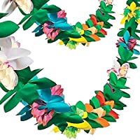 ‏‪FUTUREPLUSX Paper Garland Decorations, 2PCS Hibiscus Garland Tissue Flower Banner Tropical Paper Flowers Luau Party Decorations‬‏