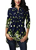 FIYOTE Womens Casual 3/4 Sleeve Floral Print Loose Tunic Long Blouse and Tops
