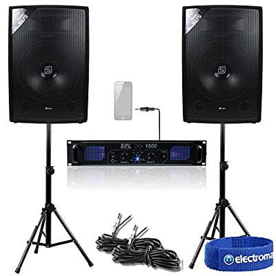 "2x Skytec 15"" Speakers Power Amplifier Stands Cables DJ Disco Party PA System Amp 1600W"
