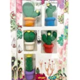 Paaroots Pencil Eraser Rubber Mini Cactus in Pot Kid Party Favour Gift Toy Random Color - 5pcs