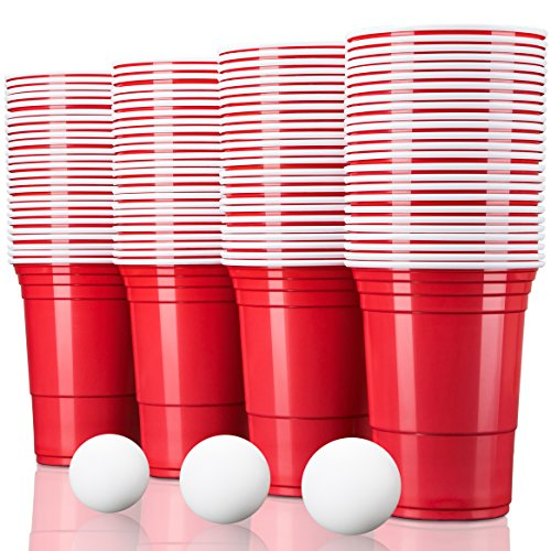 TRESKO Rote Partybecher 100 Stück | Beer Pong Party Cups | 473 ml (16 oz) | Bierpong Becher extra stark | Kunststoffbecher Plastikbecher Camping (Cups Party Red)