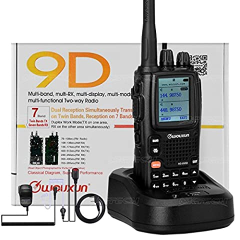 NKTECH WOUXUN KG-UV9D Dual Band TX 7-Band RX Tri-Power VHF 5W 2W 1W UHF 4W 2W 1W Cross-Band Repeater 999Channels Ham Transceiver Walkie Talkie (Black With NKTECH NK-H7 Earpiece and