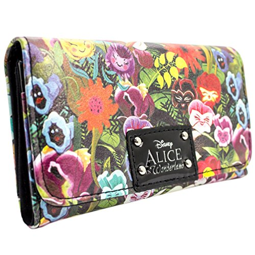 Disney Alice In Wonderland Floral Green Coin & Card Tri-Fold Purse