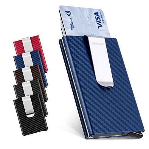 LunGear LunGear RFID Schutz Kreditkartenetui mit Geldklammer,Slim Kartenetui aus Kohlefaser und Aluminium,Mini Metall Pop Up Geldbeutel Hält bis zu 7 Karten (Blau)