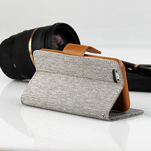 EGO® Luxury Bookstyle Handy Tasche mit praktischer Aufstellfuntkion für iPhone 6 / 6s Rot Flip Case Magnetverschluss Book Cover mit Kartenfach Wallet Stand Schutz Hülle Canvas Grau