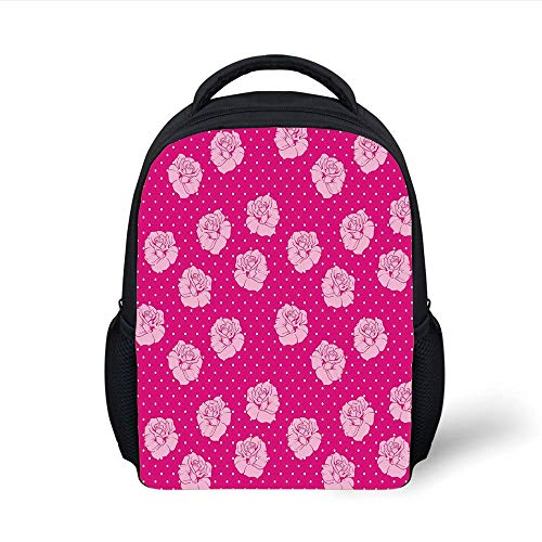 Kids School Backpack Hot Pink,Beautiful Light Pink Roses on White Dotted Hot Pink Background Love Decorative,Hot Pink Light Pink White Plain Bookbag Travel Daypack Hop-pink Camo