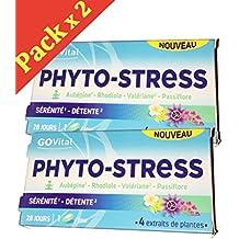 GoVital Phyto-stress - Pastillas para la ansiedad con 4 extractos de plantas (espino