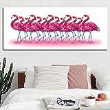 WSNDGWS HD Drucken Abstrakte Rosa Flamingos Tropischen Dschungelvogel Tropisches Ölgemälde auf leinwand für Wohnzimmer Sofa Wohnkultur