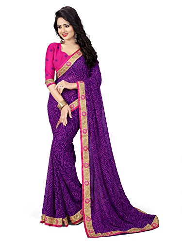 Oomph! Women's with Blouse Piece Chiffon Saree (rblf_Mauve_Free Size)