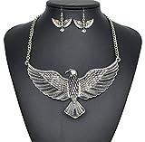 Europa Und Die Vereinigten Staaten Eagle Halskette übertriebene Retro-Legierung Ohrringe Set,Silver-L