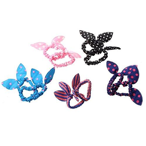 TOOGOO 10pcs Women's Rabbit Ear Hair Tie Bands Korea Style Ponytail Holder