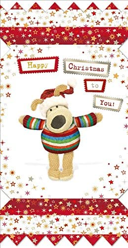 Boofle Small Happy Christmas Greeting Card Foiled Xmas Cards | Caracteristique