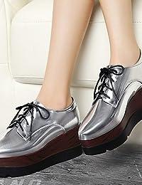 ZQ 2016 Zapatos de mujer - Tacón Bajo - Punta Redonda - Oxfords - Casual - Semicuero - Negro / Marrón , black-us8 / eu39 / uk6 / cn39 , black-us8 / eu39 / uk6 / cn39