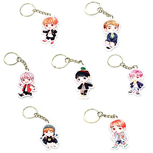 Loheag Clinor 7 Stück BTS Keychain BTS Band Members Fan Schlüsselbund Schlüsselanhänger Anhänger Ornament   Jungkook, Jimin, V, Suga, Jin, J-Hope, Rap Monster   Beste Geschenk für The Army (Style 07)