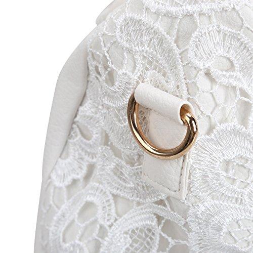 Hrph Frau Umhängetasche Lacework Handtasche Einzel Schulter mit Reißverschluss Umhängetasche white