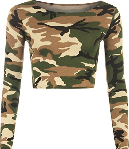 Neue Damen Frauen Tier Aztec Skull camo Full Sleeve Kurz Crop Top 8-14 Green Camo Print