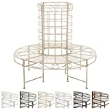 CLP Panca circolare di 360° in metallo NANUK con schienale, Ø ca. 50 cm / 120 cm (interno / esterno), stile rustico, ferro laccato, fino a 6 colori a scelta crema antico