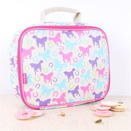 Milly Green Verspielte Ponies Pink Blau Lunchtasche (Pferd Dekorativen Geschenk-box)