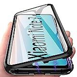 Redmi Note 7 Hülle Magnetic Adsorption Handyhülle für Xiaomi Redmi Note 7, E-Lush Hülle Ultra Dünn Durchsichtig Handy Hülle 360 Grad Komplettschutz Metall Bumper mit Gehärtetes Glas, Schwarz