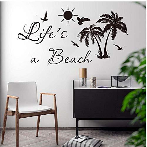 Das Leben Ist Ein Strand Palm Tree Aufkleber Auto Laptop Schlafzimmer Sommer Surf Strand Natur Wandaufkleber Auto Laptop Kinderzimmer Vinyl Spiegel Fenster Decor Poster 56X30cm (Tree Aufkleber Auto Fenster Palm)