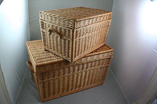 Zwei Korbtruhen Weidenkorb Set 80cm und 60cm, Wicker Chests, Trunk Set, Korb mit Deckel - 2