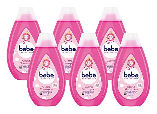 bebe Zartpflege Glanzshampoo, zartes und pflegendes Shampoo,reinigt sanft, Kindershampoo, 6er Pack (1 x 300 ml)
