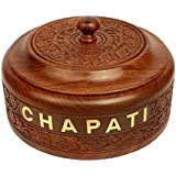 Gaura Art & Crafts Wooden Handcrafted Chapati Box With Stainless ,Pot Serving Bowl With Lid For Chapatis 7.5 Inches