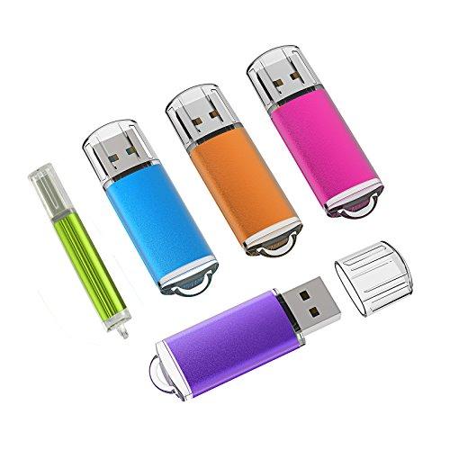 KEXIN 5-Pack USB-Stick Flash-Laufwerk Memory Sticks mit Kappe für Laptop (5 gemischte Farben: Blau, Lila, Hot-Pink,Grün, Orange) (8GB*5PCS)