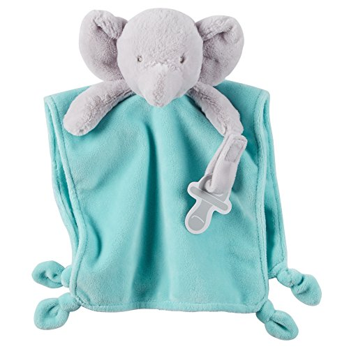 Carter's Cuddle Plush with Pacifier Loop Elephant, Blue by Carter's