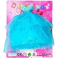 CDKJ Set Ropa para Muñeca Barbie,Vestidos Barbie Falda con Pendientes y Zapatos de tacón para niñas Hecho a Mano Accesorios de Vestir para Las Muñecas de Barbie(Azul Vestido de Novia)