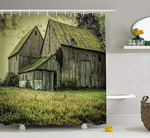 BUZRL Country Shower Curtain, Farmer Field Barn Warehouse Midwest American Style Antique Ancient Artwork Print, Fabric Bathroom Decor Set with Hooks, 60 * 72inchs Long, Multicolor