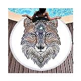 JUNHONGZHANG Tattoo Kopf Wolf Runden Strand Handtuch Für Erwachsene Mikrofaser Tier Badetuch mit Quasten Schwarz und Weiß Yoga-Matte (150 cm), Weiß, 150 cm