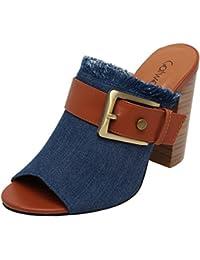 Catwalk Blue Denim Slip-on Heeled Pumps for Women's