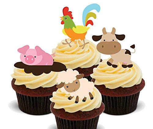(Made4You Farm Tiere, Kinder essbaren Kuchen Dekorationen–Stand-up Wafer Cupcake Topper, 12er-Pack)