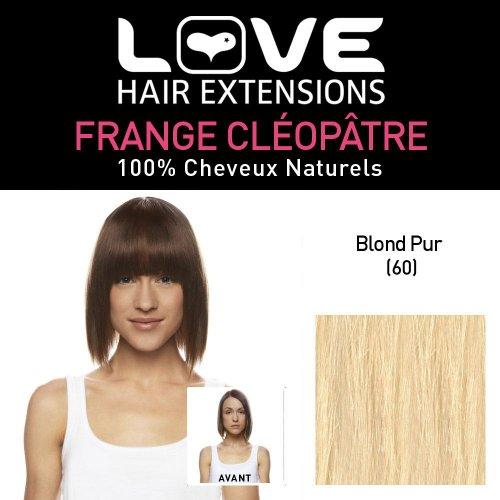 Love Hair Extensions - LHE/FRA1/QFC/CLEOPATRA/60 - 100 % Cheveux Naturels - Frange Cléopâtre - Couleur 60 - Blond Pur