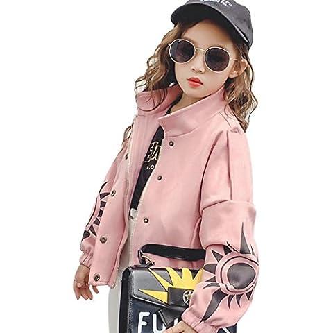 Enfant Manteaux, Xinan Coton Longue Manches Manteaux Fille Chaud Blousons Mignon Automne Manteaux 3-8 ans (Rose, 8T)