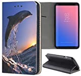 Samsung Galaxy A3 2017 Hülle Smart Flipcover Schutzhülle Case Handyhülle für Samsung Galaxy A3 2017 (626 Delfin im Meer Delphin Blau Grau)