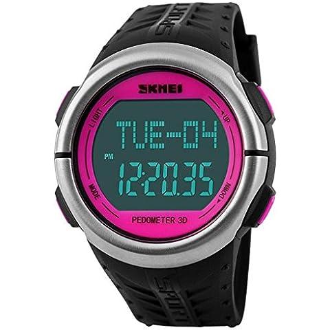 pkaty Unisex Uomo/Donna da Polso luce posteriore a LED Orologi Cardiofrequenzimetro Pedometro Digitale Watch-Rose (Formula 1 Womens Watch)