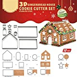 UPXIANG Creative 3D Gingerbread House Mould, Chocolate Cake Candy Mold Biscuit Cookies Cutter DIY Baking Pastry Stainless Steel Tool