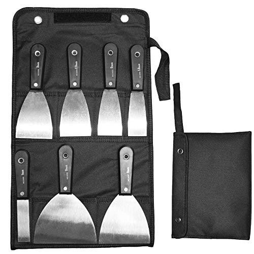 Schaber, Spachtelsatz, Putty Messer Set, HUYU Wandschaber, Spachtelmesser, rostfrei Spachtel Set, Baumarkt Spachtel Set, mit tragbarer Tasche, Spachtelbreite 2.5-12.8 mm, 7-teilig