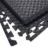 12 Stück Schutzmatten Set Bodenschutz Matte Bodenschutzmatte Puzzlematte Gymnastikmatte Unterlegmatte Bodenmatte (Schwarz) - 4